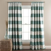 Stripe Room Darkening 84-Inch Rod Pocket Window Curtain Panel Pair in Blue