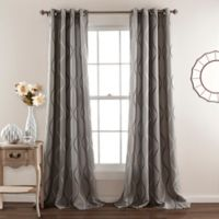 Swirl 84-Inch Room-Darkening Grommet Top Window Curtain Panel Pair in Grey