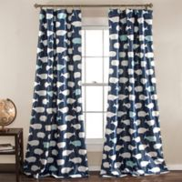 Whale Print 84-Inch Room Darkening Window Curtain Panel Pair in Navy