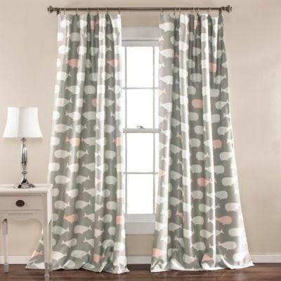 whale print 84inch room darkening window curtain panel pair in pink
