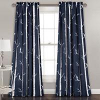 Bird On The Tree 84-Inch Rod Pocket Room Darkening Window Curtain Panel Pair in Navy