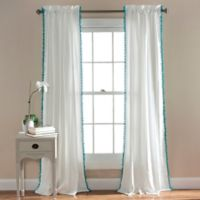 Pom Pom 84-Inch Rod Pocket Window Curtain Panel in Aqua