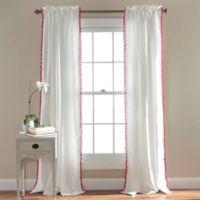 Pom Pom 84-Inch Rod Pocket Window Curtain Panel in Pink