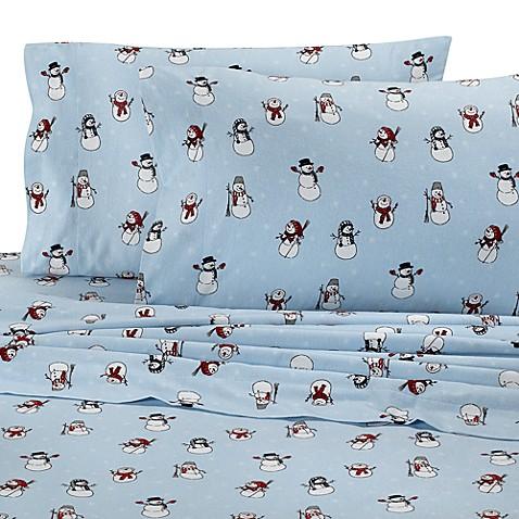 Snowman Flannel Sheet Set 100 Cotton Bed Bath Amp Beyond