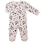 Kushies® Into the Woods Size 3M Leaves Side-Zip Footie in Pink