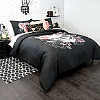 Sugar Skull Twin/Twin XL Comforter Set in Charcoal/Pink