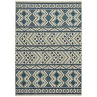 Capel Rugs Genevieve Gorder Aster-Kelim 3-Foot 10-Inch x 5-Foot 5-Inch Area Rug in Blue