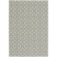 Capel Rugs Elsinore Tile 3-Foot 11-Inch x 5-Foot 6-Inch Indoor/Outdoor Area Rug in Blue