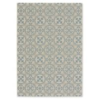 Capel Rugs Elsinore Tile 5-Foot 3-Inch x 7-Foot 6-Inch Indoor/Outdoor Area Rug in Blue