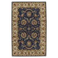 Capel Rugs Guilded Floral Wide Border 2-Foot 6-Inch x 3-Foot 6-Inch Accent Rug in Blue