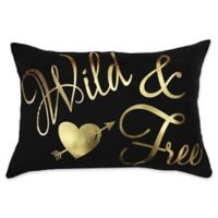 "Sugar Skull ""Wild & Free"" Oblong Throw Pillow in Black/Gold"