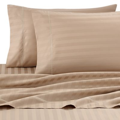 Wamsutta® Stripe 500 Thread Count PimaCott® Olympic Queen Sheet Set In Taupe