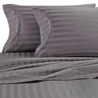 Wamsutta® Stripe 500-Thread-Count PimaCott® Full XL Sheet Set in Grey