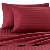 Wamsutta® Stripe 500-Thread-Count PimaCott® Dual King Sheet Set in Burgundy