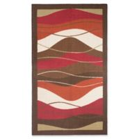 Modern Living 2-Foot 2-Inch x 3-Foot 9-Inch Waves Textured Accent Rug in Blue/Brown