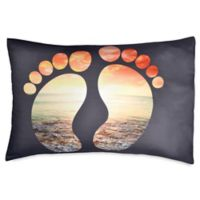 Hang Ten Surfboard Medallion Feet Standard Pillowcase in Black