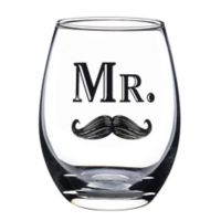 "Lillian Rose™ ""Mr."" Mustache Stemless Wine Glass"