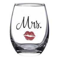 "Lillian Rose™ ""Mrs."" Lips Stemless Wine Glass"