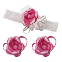 Lillian Rose™ 3-Piece Baby Headband and Barefoot Sandals Set in Hot Pink