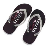 Lillian Rose™ Small Sweet Sixteen Flip Flops in Black/Pink