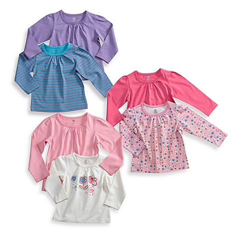 BE BASICTM Toddler Girls Long Sleeve Tees Set Of 2 100