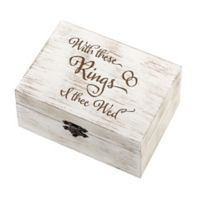 """Lillian Rose™ """"I Thee Wed"""" Rustic Wedding Ring and Vow Box in White"""