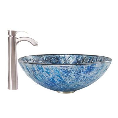Vigo Rio Glass Vessel Sink With Otis Faucet In Brushed Nickel