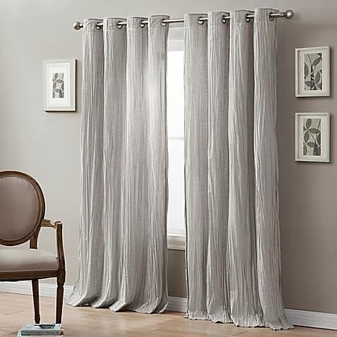 Linen Crinkle Grommet Top Window Curtain Panel Bed Bath