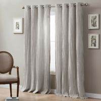 Linen Crinkle 84-Inch Grommet Top Window Curtain Panel in Taupe