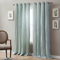 Linen Crinkle 84-Inch Grommet Top Window Curtain Panel in Sea Mist