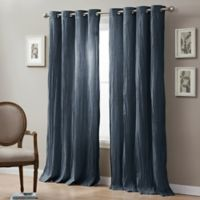 Linen Crinkle 84-Inch Grommet Top Window Curtain Panel in Indigo