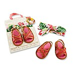 Baby Aspen Size 0-6M Tropical Headband and Flip-Flop Set in Pink/Green