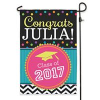 """Congrats Grad!"" Outdoor Garden Flag in Black"