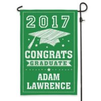 """Congrats Graduate"" Outdoor Garden Flag in Green"