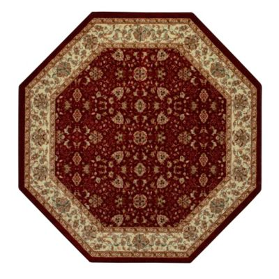 amani 5foot octagonal rug in red - Washable Rugs