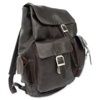 Piel® Leather 16-Inch Large Buckle-Flap Backpack in Chocolate