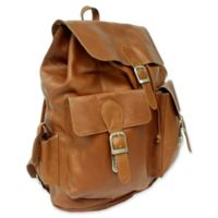 Piel® Leather 16-Inch Large Buckle-Flap Backpack in Saddle