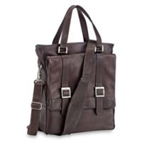 Piel® Leather 11-Inch Classic Buckle Flap-Over Shoulder Tote Bag in Chocolate