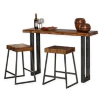 Hillsdale Emerson 3-Piece Sofa Table and Counter Stools Set in Grey