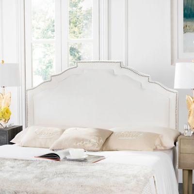 safavieh alexia upholstered full headboard in white