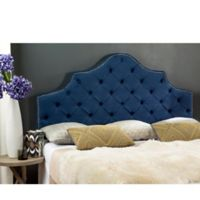Safavieh Arebelle Tufted Upholstered Queen Headboard in Steel Blue