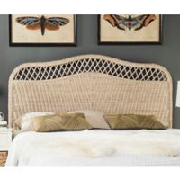 Safavieh Sephina Antique Rattan Queen Headboard in White Washed