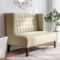 Pulaski Shelter Back Upholstered Settee in Sateen Hemp