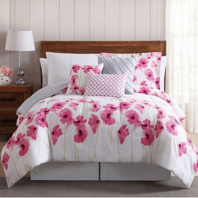 Buy white flower comforter from bed bath beyond springfield floral 12 piece queen comforter set in pinkwhite mightylinksfo