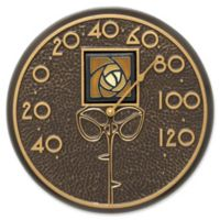 Whitehall Products Dard Hunter Rose Outdoor Wall Thermometer in Amber/French Bronze