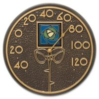 Whitehall Products Dard Hunter Rose Outdoor Wall Thermometer in Blue/French Bronze