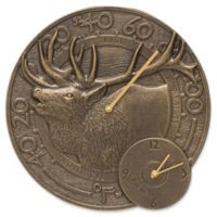 Whitehall Products Elk Indoor/Outdoor Wall Clock and Thermometer in French Bronze