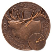 Whitehall Products Elk Indoor/Outdoor Wall Clock and Thermometer in Antique Copper