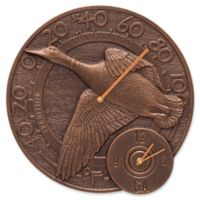 Whitehall Products Mallard Indoor/Outdoor Wall Clock and Thermometer in Antique Copper
