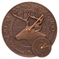 Whitehall Products Whitetail Deer Indoor/Outdoor Wall Clock and Thermometer in Antique Copper